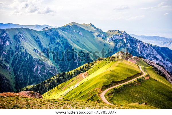 Mountain hill path road panoramic landscape