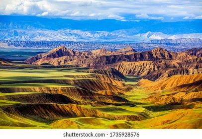 Mountain hill valley landscape view. Mountain hill valley view. Mountain hills landscape
