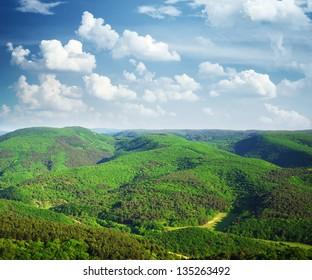 Mountain hills landscape. Nature composition.