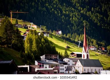 Mountain Hillside Church Houses Sölden Austria Tirol Alps