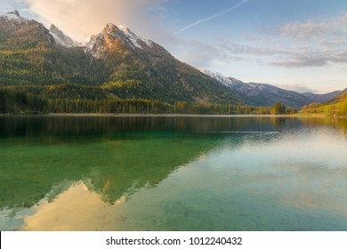 Mountain Hochkalter and lake Hintersee in the Alps of Bavaria on a beautiful day in spring