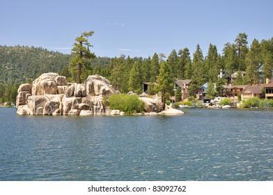 Mountain homes look out on Treasure Island and Boulder Bay at Big Bear Lake in Southern California.