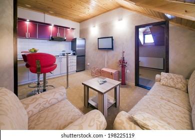 Mountain hotel apartment interior