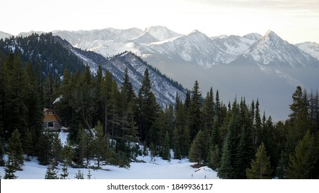 Mountain Hut in alpine landscape on an early morning (winter) in BC, Canada.
