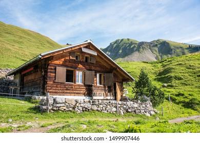 Mountain hut in the Bernese Alps in Switzerland