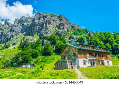 a mountain hut near raisko praskalo waterfall in bulgaria