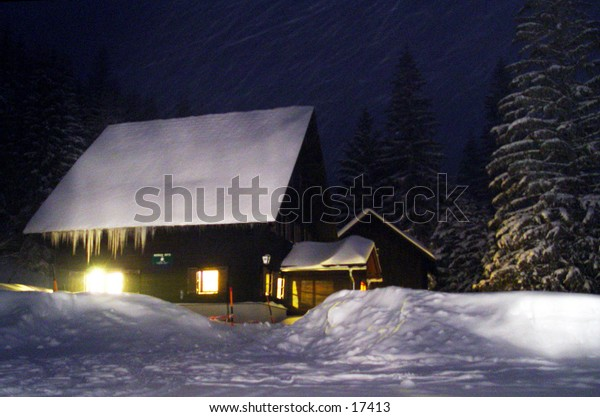 Mountain hut at night