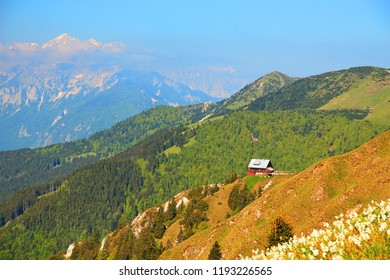 Mountain hut on the ridge in the Alps