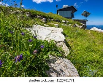 Mountain hut on the top of mount Porezen in Slovenia