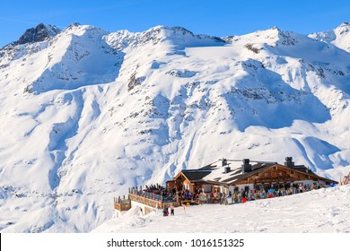 Mountain hut restaurant in beautiful Hochgurgl-Obergurgl ski area, Tirol, Austria.