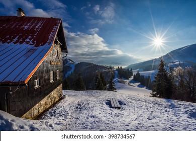 Mountain hut in Velka Fatra mountains, Slovakia winter trip