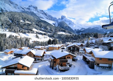 Mountain huts in Annaberg, Austria, during winter