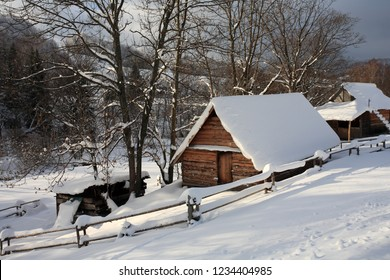 Mountain huts near Brzegi Gorne (Berehy), Bieszczady Mountains, Bieszczady National Park, Carpathians Mountains, Poland