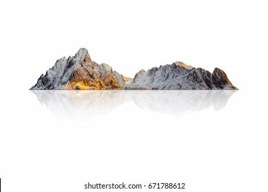 Mountain, island or hill in winter with snow isolated on white with clipping path.