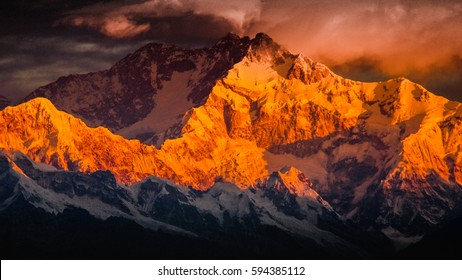 Mountain Kanchenjunga of Himalayan Range, the third highest mountain in the world. Shot from Tiger Hill,Darjeeling, India. At 0600 hrs. The images the first rays fall onto mountain