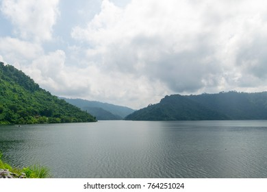 Mountain and lagoon landscape