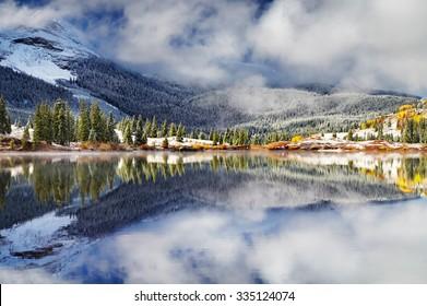 Mountain lake after the snow storm. Molas Lake, San Juan Mountains, Colorado, USA