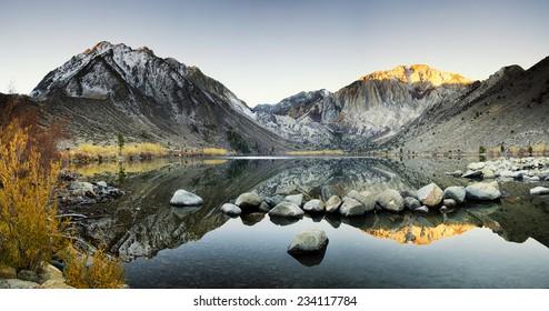 Mountain Lake at Autumn - Convict Lake in California's Sierra Nevada Mountain Range at Autumn