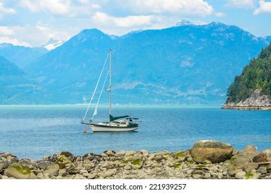 Mountain lake and boats. Vancouver, Canada. Beauty world.
