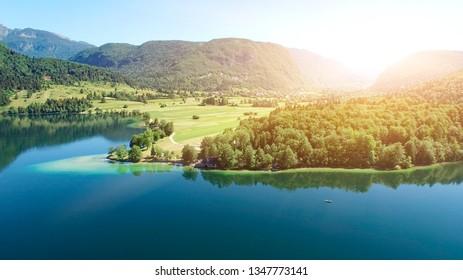 Mountain Lake Bohinj in Julian Alps, Slovenia