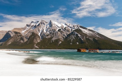 Mountain and lake in Canada with frozen water