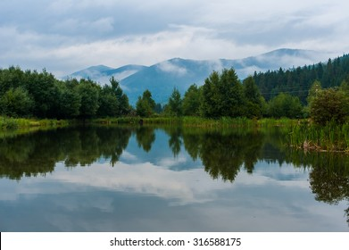 Mountain lake in the Carpathian mountains