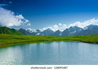 Mountain lake in Caucasus mountains in Svaneti Georgia