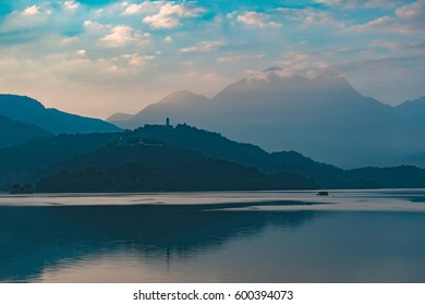 Mountain and Lake Dawn/ Morning View  at Sun Moon Lake / Taiwan / Yuchi Township/ Nantou County