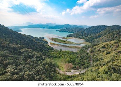Mountain and Lake in Daylight View at Sun Moon Lake / Taiwan / Yuchi Township / Nantou County