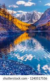 Mountain lake during autumn, Russia, Siberia, Altai mountains