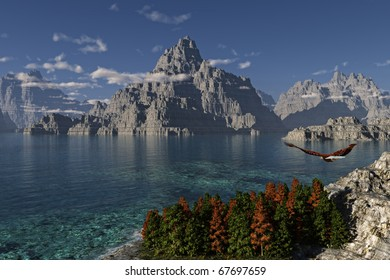 Mountain Lake with Eagle