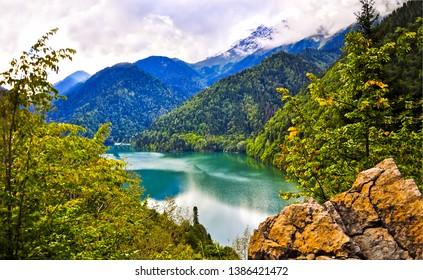 Mountain lake forest landscape view. Mountain lake forest. Mountain lake forrest view. Montain lake forrest landscape