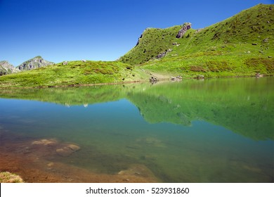 A mountain lake in French Alps, Avoriaz