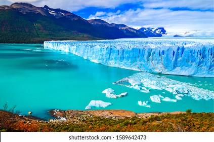 Mountain lake glacier landscape in Argentina. Perito Moreno glacier view. Perito Moreno glacier in Patagonia, Argentina. Perito Moreno glacier