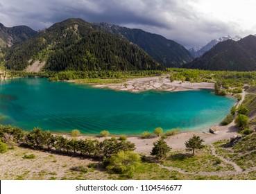 Mountain lake Issyk in Almaty city Kazakhstan