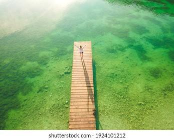 Mountain lake Jasna in Krajsnka Gora,  Slovenia. Triglav National Park. Aerial shot. - Shutterstock ID 1924101212