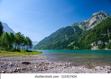 Mountain lake at Kloental, Glarus, Switzerland