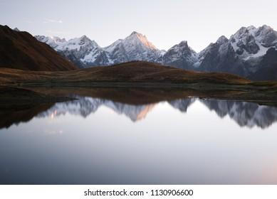 Mountain Lake Koruldi. Main Caucasian ridge. Zemo Svaneti, Georgia. Near the town of Mestia
