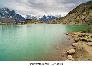 Mountain lake. Lac Blanc, Chamonix, France