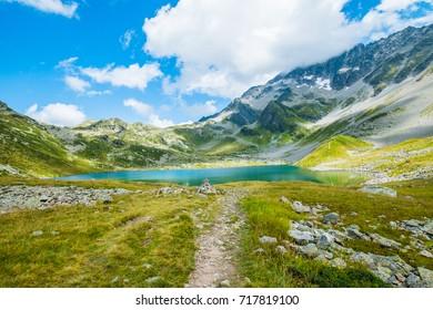 Mountain lake Lac Jovet, Les Contamines, France