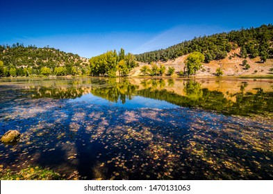 Mountain lake Lac Ouiouane in Morocco near Aguelmam Azigza National Park