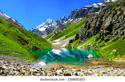 Mountain lake landscape. Beautiful mountain lake panorama. Mountain lake water reflection. Mountain lake reflection