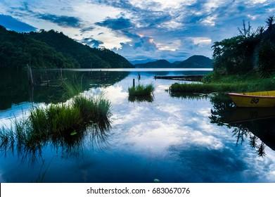 Mountain lake landscape, Begnas Tal, Nepal