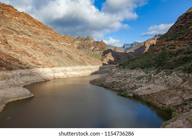 Mountain lake landscape in Gran Canaria, Canary islands, Spain. Nature background
