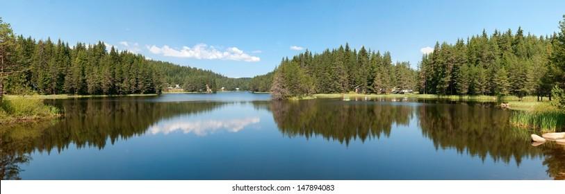mountain lake, landscape panorama