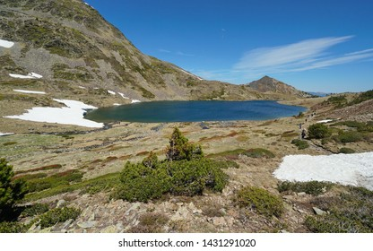 Mountain lake landscape in the Pyrenees, Trebens, France, Pyrenees-Orientales