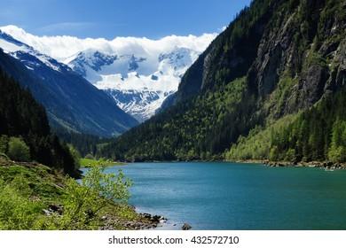 Mountain lake landscape in the Stilluptal. Austria, Tyrol.