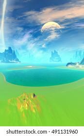Mountain and  lake. Landscape of stranger planet. 3D rendering