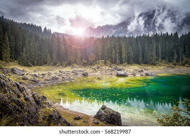 Mountain lake in National Park Europe. Italy