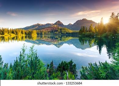 Mountain lake in National Park High Tatra. Strbske pleso, Slovakia, Europe. Beauty world.